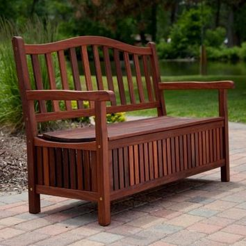 Outdoor Wooden Storage Bench for Patio Garden Backyard