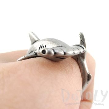 Hammerhead Shark Sea Creatures Shaped Wrap Around Ring in Silver | Size 5 to 9