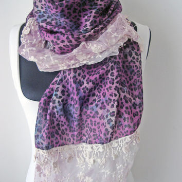 Purple animal print scarf lace floral lavander scarves for women spring accessories violet scarf with lace gift idea for women cotton fabric