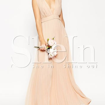 Pink Sleeveless Deep V Neck Pleated Maxi Dress -SheIn(Sheinside)