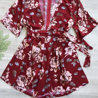 Its Blooming Floral Plunging Neckline Romper - Burgundy