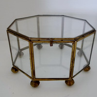 Vintage Brass and Glass Hexagon Display Case Footed Curio Box