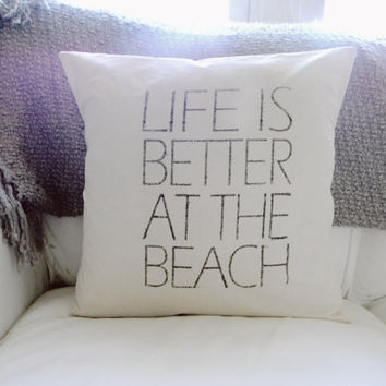 Life's Better At The Beach 16 x 16 Pillow Cover, summer home decor, patrioticstar fish, nautical, present, houswarming gift