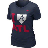 Atlanta Braves MLB Nike Women's Navy 'I Love' T-Shirt