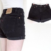 Vintage Levis 550 High Waisted Denim Cutoff Jean Shorts - 80s 90s Cuffed Faded Black Women's Levis Shorts - Size 9