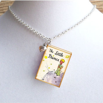 The Little Prince with Tiny Heart Charm - Miniature Book Necklace