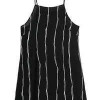 Black Spaghetti Strap Pinstriped Mini Dress