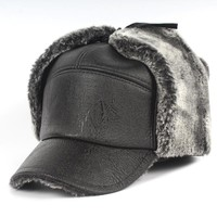 PU Leather Dad Hat for Men Lei Feng Cap with Ears Flaps Ear Protection Winter Warm Bomber Hat Middle-Aged Old Men's Caps