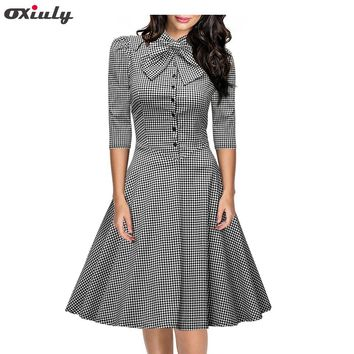 Womens Elegant Stand Collar Three Quarter Vintage Black White Plaid Tunic Pinup Wear To Work Office Casual Party A Line Dress