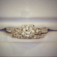 Vintage 1920 Wedding Set Half Carat Diamond Ring in Platinum with .78 Total Carat Weight - APPRAISED