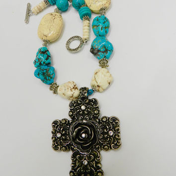 Chunky Turquoise Magnesite Necklace  0rnate Metal Rose Cross Pendant