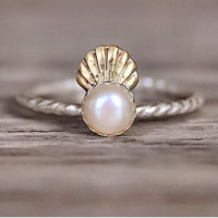 Mermaid Shell Crown and Pearl Ring