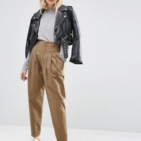 ASOS High Waist Brushed Chino Pants at asos.com