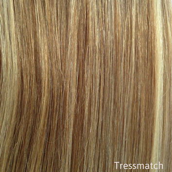 "Remy Human Hair Clip in Extensions Brown w/ Blonde Highlights 20""-22"" inch Thick Full Head Set (120-150g, also available black/brown/auburn)"