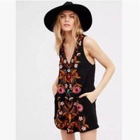 VONE05C Free People' Fashion Ethnic Retro Totem Embroidery V-Neck Sleeveless Vest Mini Dress