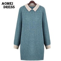 Women Winter Sweater Dress Long Knit Wear Fall Fashion Knitted Pullover Blue Green
