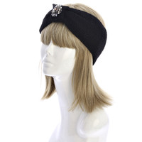 Posey Jewel Knit Headband Turban Black