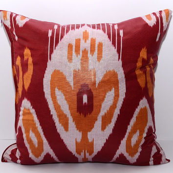 15x15 ikat pillow cover, orange red, pillow, cushion, sofa ikat, sofa cushion, red pillow, red orange pillow