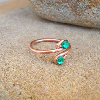 Green Ring FREE SHIPPING WORLDWIDE Wire Wrapped Jewelry Copper / handmade / antique, vintage / steampunk / bohemian / boho / mystical