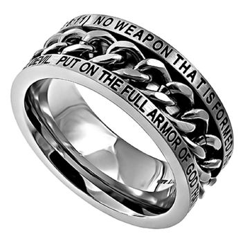 "STAINLESS STEEL Chain Spinner Ring ""NO WEAPON"" ARMOR OF GOD Isaiah 54:17/Ephesians 6:11"