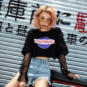 Sweetown Harajuku Crop Top Mesh Patchwork Long Sleeve T Shirt Women Korean Style Kawaii Graphic Tees Woman Black Printed Tshirt