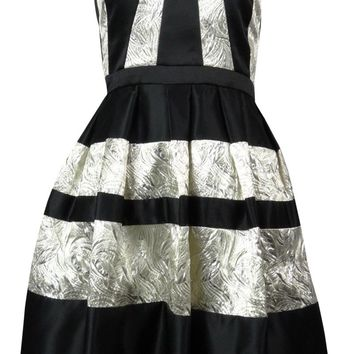 Betsy & Adam Women's Metallic Striped Pleated Dress