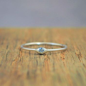 Dainty Silver Aquamarine Dew Drop Mother's Ring