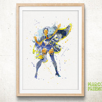Storm, X-Men - Watercolor, Art Print, Nursery Room Decor, Wall Art, Superhero Poster