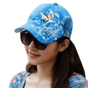 DCCKWJ7 Summer Women Lady Flowers Butterfly Embroidered Golf Hat Adjustable Baseball Cap