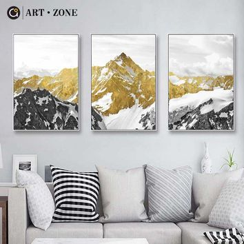 ART ZONE Classical Mountain Lanscape Wall Art Canvas Poster 3D HD Print Oil Painting Decorative Picture Living Room Home Decor