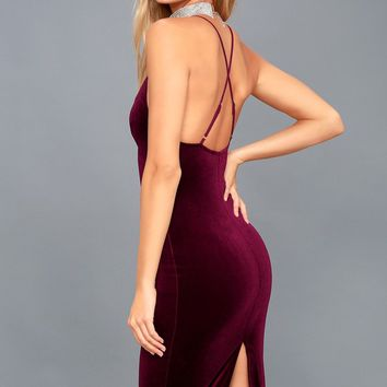 In Vogue Burgundy Velvet Bodycon Midi Dress