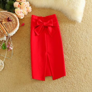 New Elegant Cut Out Pencil Skirts 2016 Women Fashion Cotton High Waist Criss-cross Bow Skirt  Workwear Skirts Party Skirt H1