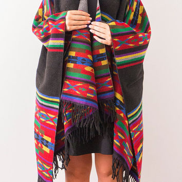Tribal Poncho Capes Aztec Poncho Ethnic Poncho Ethnic Coat Boho Poncho Tribal Coat Aztec Coat Wool Poncho Fashion Accessories
