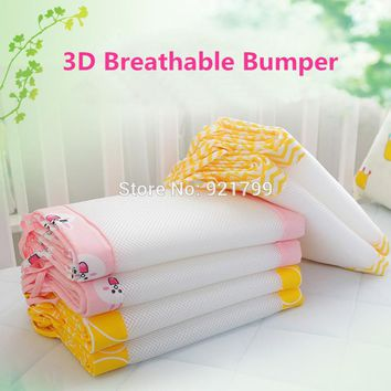 2PCS Long Cotton / Polyester Summer Baby Crib Bumper Safety Crash Barrier Breathable Newborn Infant Bedding Safety 3D Bumpers