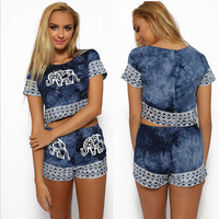 2015 Summer two piece outfits Women Jumpsuit Denim Elephant Printed crop top shorts Fashion playsuit