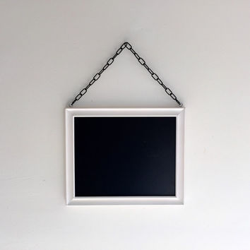 Hanging Vintage Framed Chalkboard with Chain - White, Beach Cottage, Home Decor, Office, Rustic, Wedding, Antique, Engagement, Christmas