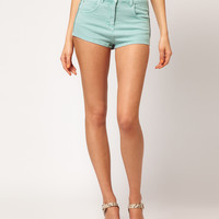 ASOS High Waisted Denim Shorts in Soft Turquoise at asos.com