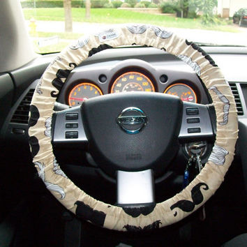 Mustache on Taupe for Your Car Steering Wheel Cover