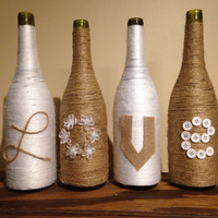 Love wine bottle vases-set of 4, twine and burlap bottle vases, flower vases, decorative vases, wine vases