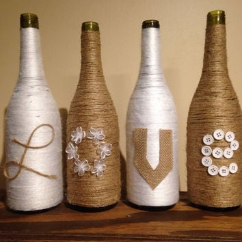 love wine bottle vases set of 4 twine and burlap bottle vases flower - Decorative Vases