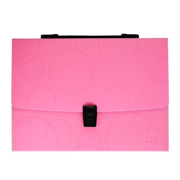 Shuter 13 Pockets A4 Expanding Accordion File Folder with Buckle Closure, Flexible and Comfortable Handle and Subject Labels, Enhanced Thickness and Hardness.(Pink)