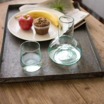 Recycled Clear Glass Carafe and Drinking Glass