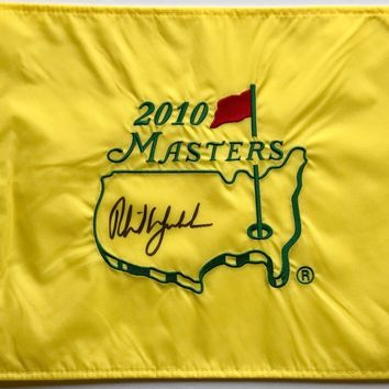 Phil Mickelson Signed Autographed 2010 Masters Golf Pin Flag (Beckett COA)