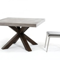 Metro Rustic Reclaimed Wood and Concrete Square Dining Table 48""