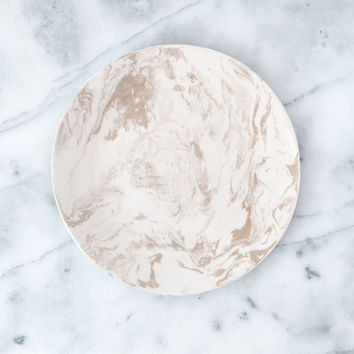 Beige Ebru Light Marble Ceramic Dinner Plate