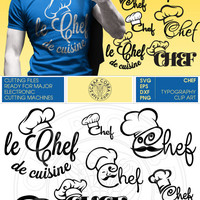 Chef Typography Clip Art - Digital Downloads - SVG, eps, DXF, PNG Cut Files for Silhouette Studio, Cricuit die cutting cv-349