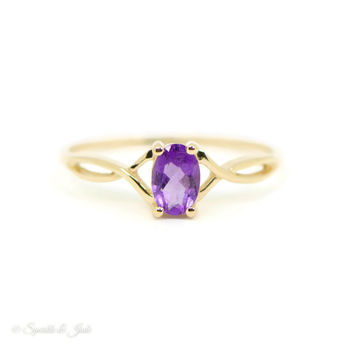14k Yellow Gold Solid Dainty Oval  7x5mm Genuine Amethyst February Birthstone Ring with Infinity Side Twist Design