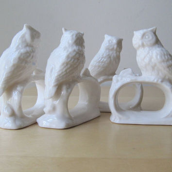 blance de chine owl napkin rings by ionesAttic on Etsy
