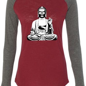 Womens Yoga T-shirt At Peace Buddha Preppy Patch Elbow Tee
