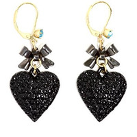 Black Heart Ribbon Dangling Earrings Gold Tone Crystal Love Charm Drop EH69 Fashion Jewelry